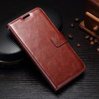 Wallet PU kožené puzdro pre Samsung Galaxy J3 (2017) - hnedé
