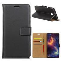 Wallet PU kožené puzdro na Samsung Galaxy J4 (2018) - čierne
