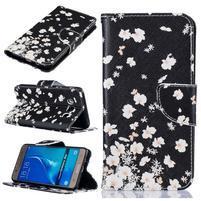 Patty peňaženkové puzdro na Samsung Galaxy J5 (2016) - biele kvietky