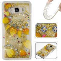 Presýpací gélový obal na mobil Samsung Galaxy J5 (2016) - zlatý veniec