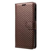 Carbon PU kožené texturované puzdro na Samsung Galaxy J5 (2017) - hnedé