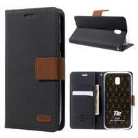 Grain PU kožené puzdro na mobil Samsung Galaxy J5 (2017) - čierne