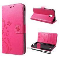 Flower PU kožené peňaženkové puzdro na Samsung Galaxy J6 - rose