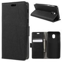 Stand PU kožené peňaženkové puzdro na Samsung Galaxy J6 - čierne