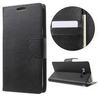 Diary PU kožené puzdro pre mobil Samsung Galaxy J7 (2016) - čierne