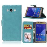 Matte PU kožené puzdro na Samsung Galaxy J7 (2016) - modré
