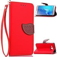 Leafs PU kožené puzdro pre mobil Samsung Galaxy J7 (2016) - červené