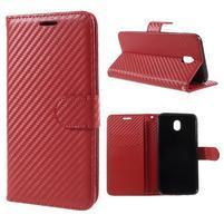 Carbo PU kožené puzdro na mobil Samsung Galaxy J7 (2017) - červený