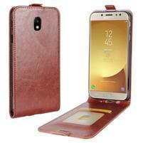 Flipové PU kožené puzdro na Samsung Galaxy J7 (2017) - hnedé