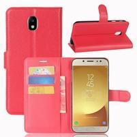 Grain PU kožené puzdro na Samsung Galaxy J7 (2017) - červené