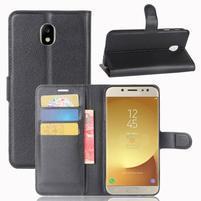 Grain PU kožené puzdro na Samsung Galaxy J7 (2017) - čierne