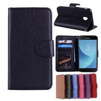 Skiny PU kožené peňaženkové puzdro na Samsung Galaxy J7 (2017) - čierne
