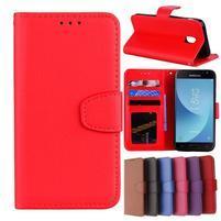 Skiny PU kožené peňaženkové puzdro na Samsung Galaxy J7 (2017) - červené