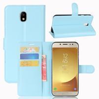Grain PU kožené puzdro na Samsung Galaxy J7 (2017) - modré