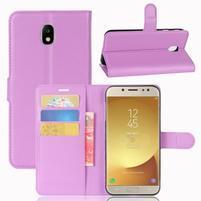 Grain PU kožené puzdro na Samsung Galaxy J7 ( 2017) - fialové