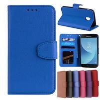 Skiny PU kožené peňaženkové puzdro na Samsung Galaxy J7 (2017) - modré