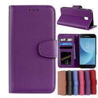 Skiny PU kožené peňaženkové puzdro na Samsung Galaxy J7 (2017) - fialové
