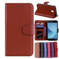 Skiny PU kožené peňaženkové puzdro na Samsung Galaxy J7 (2017) - hnedé