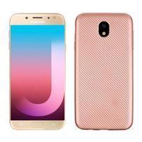 Fiber texturovaný gélový obal na Samsung Galaxy J7 (2017) - rose gold