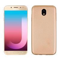 Fiber texturovaný gélový obal na Samsung Galaxy J7 (2017) - zlatý