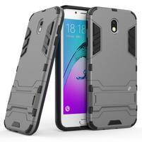 Defender odolný obal so stojanom na Samsung Galaxy J7 (2017) - šedý
