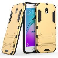 Defender odolný obal so stojanom na Samsung Galaxy J7 (2017) - zlatý