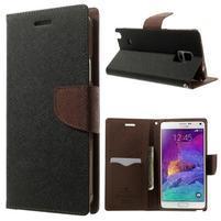 Diary PU kožené puzdro na Samsung Galaxy Note 4 - čierne/hnedé