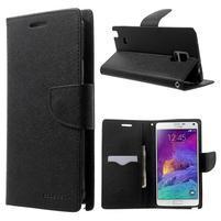 Diary PU kožené puzdro na Samsung Galaxy Note 4 - čierne