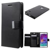 Rich Diary PU kožené puzdro na Samsung Galaxy Note 4 - čierne