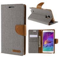 Canvas textilné/PU kožené puzdro na Samsung Galaxy Note 4 - sivé