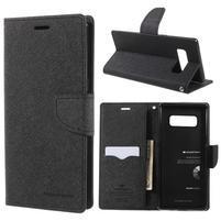 Diary PU kožené zapínacie puzdro na Samsung Galaxy Note 8 - čierne