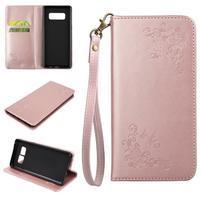 Motýlí PU kožené puzdro s pútkom na Samsung Galaxy Note 8 - ružovozlaté