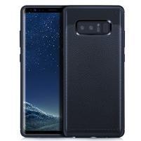 Leathy odolný obal s texturovaným chrbtom na Samsung Galaxy Note 8 - tmavomodrý