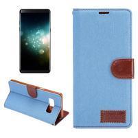 Jeans textilní/ PU kožené puzdro na Samsung Galaxy Note 8 - svetlomodré