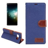 Jeans textilní/ PU kožené puzdro na Samsung Galaxy Note 8 - modré