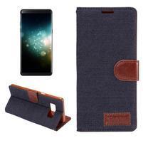 Jeans textilní/ PU kožené puzdro na Samsung Galaxy Note 8 - tmavomodré