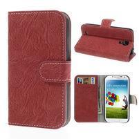 PU kožené peňaženkové puzdro pre Samsung Galaxy S4 - červené