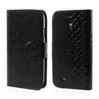 PU kožené peňaženkové puzdro s hadím motívom pre Samsung Galaxy S4 - čierne
