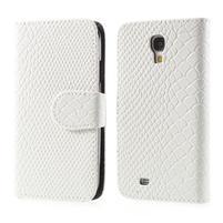 PU kožené peněženkové pouzdro s hadím motivem na Samsung Galaxy S4 - bílé