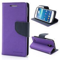 PU kožené peňaženkové puzdro pre Samsung Galaxy S4 mini - fialové