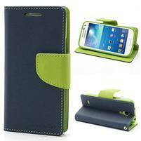 PU kožené peňaženkové puzdro pre Samsung Galaxy S4 mini - tmavo modré