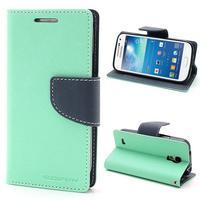 PU kožené peňaženkové puzdro pre Samsung Galaxy S4 mini - cyan