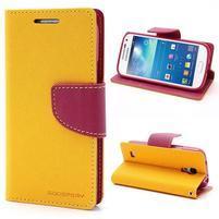 PU kožené peňaženkové puzdro pre Samsung Galaxy S4 mini - žlté