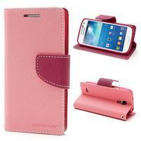 PU kožené peňaženkové puzdro pre Samsung Galaxy S4 mini - ružové