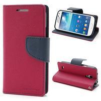 PU kožené peňaženkové puzdro pre Samsung Galaxy S4 mini - rose