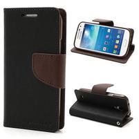 PU kožené peňaženkové puzdro pre Samsung Galaxy S4 mini - hnedé/čierne
