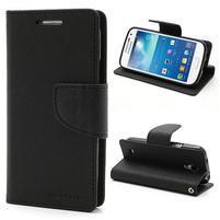 PU kožené peňaženkové puzdro pre Samsung Galaxy S4 mini - čierne