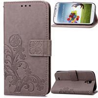 Štvorlístok PU kožené puzdro na Samsung Galaxy S4 Mini - sivé