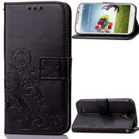 Štvorlístok PU kožené puzdro na Samsung Galaxy S4 Mini - čierne