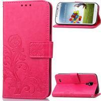 Štvorlístok PU kožené puzdro na Samsung Galaxy S4 Mini - rose